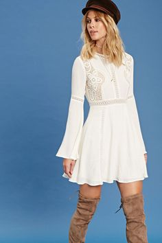 Forever 21 Contemporary - A woven dress featuring a round neckline with crochet trim, crochet cutout panels with mesh lining, sheer crochet cutout panels, a ladder-cut waist, long bell sleeves, and an invisible back zipper.