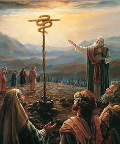 """Moses and the Serpent on the Pole. BIBLE SCRIPTURE: Numbers 21:8, """"And the LORD said unto Moses, Make thee a fiery serpent, and set it upon a pole: and it shall come to pass, that every one that is bitten, when he looketh upon it, shall live."""" - http://access-jesus.com/Numbers/Numbers_21.html"""