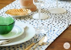 DIY Dot Table Runner   Inspired by Charm ~T~ Cute and easy. Would be great indoors or outdoors and so many color combos you could make.