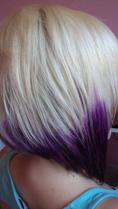 Blonde w/ purple ends hair bleach blonde hair, hair styles и Blonde Bob Hairstyles, Hairstyles Haircuts, Cool Hairstyles, Bleach Blonde Bob, Blonder Bob, Locks, Hair Color And Cut, Pinterest Hair, Purple Hair