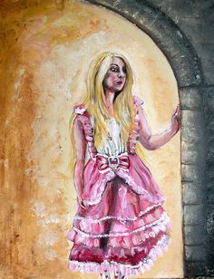 Into Versailles  Limited Edition Archival Print of by KimAnnabella, €10.00 Art Reproduction Limited Edition Painting Original Painting Rabbit Pink Marie Antoinette Pop Surrealism Rococo Baroque Versailles Lolita Dress Petit Trianon Kim Annabella  Materials    paint canvas acrylic paint archival paper print