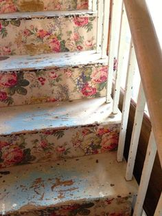 old wallpaper stairs