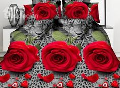 Sexy Red Rose and Leopard #3D Printed 4-Piece Polyester Duvet Cover #bedroom #bedding