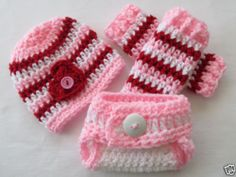 ❤ BabyLuv Crochet VALENTINES Hat/Diaper Cover/Leg Warmers Set �� NEWBORN Props
