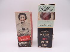 Retro 1940s Walker Double Duty Ice Cap Hot Water and The Genuine Wireless Ice Bag in Original Boxes