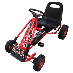 Kids Pedal Go Kart Red Black Ride On Car Outdoor Toy Game Racing Children Gift