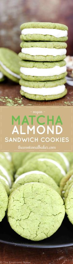 Green tea cookies flavored with almond and paired with a creamy frosting.