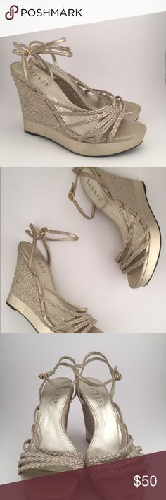 Lauren Ralph Lauren Gold Espadrilles Wedges ✨NEW! Beautiful Shoes!! So perfect for this Spring & Summer 💐  Note: This item has original tags (No Box). and shows no visible signs of wear. Brand New ⭐️  ✨Size>>> 7.5 ✨Height>>> 4.5  ✨These Pictures are the Exact Shoes for Sale✨ SORRY NO TRADES Lauren Ralph Lauren Shoes Espadrilles