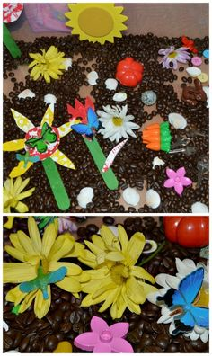 "Kevin Henkes' ""My Garden"" inspired sensory bin with coffee beans as dirt. #bookactivities #sensorybins #sensoryactivities"