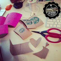 creating Valentine's day decor with your discarded starbucks coffee sleeves.