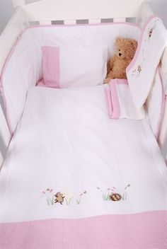Tom & Bella Cot duvet cover and baby Pillowcase set - White/Pink