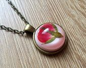 Rose bud necklace, pink resin