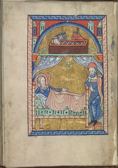 Images from the life of Christ - The Nativity, the Christ-child in the manger, Mary lies in bed, St Joseph at her feet - Psalter of Eleanor of Aquitaine (ca. 1185) - KB 76 F 13, folium 016v.