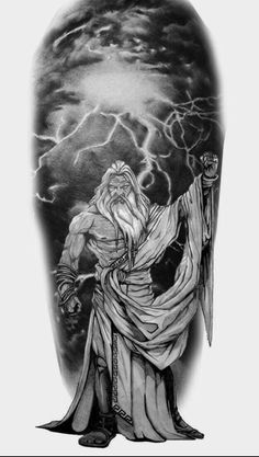 What does zeus tattoo mean? We have zeus tattoo ideas, designs, symbolism and we explain the meaning behind the tattoo. God Tattoos, Body Art Tattoos, Sleeve Tattoos, Tattoos For Guys, Tattoo Art, Poseidon Greek Mythology, Greek Mythology Tattoos, Zues Tattoo, Greek God Tattoo