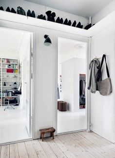 Shelves above doorways or high up to store extra items