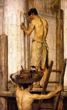 Christian Rohlfs (German, 1849-1938), Roman Builders, 1867. Oil on canvas, 195 x…