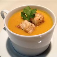 Curried Butternut Squash and Pear Soup Allrecipes.com Tried and LOVED. Can use pumpkin in place of BSquash.
