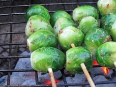 Grilled Brussels sprouts with whole grain mustard: 1 pound of Brussels Sprouts, 2 Tablespoons whole grain mustard, 2 Tablespoons Olive oil, by MarylinJ