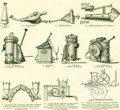1922  Materiel Viticulture Ancien Soufre Cuivre Pulvérisateur Ancienne illustration Enseignement Agricole Larousse de la…