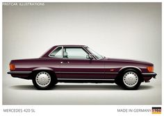 Firstcar Illustrations   Personalized Car Illustrations   Mercedes Benz 420 SL 1986