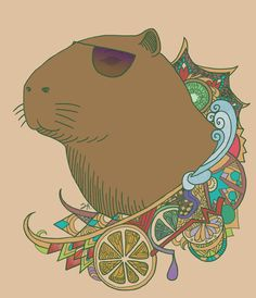 Pastel Background Wallpapers, Capybara, Desenho Tattoo, Time Tattoos, Animal Paintings, Guinea Pigs, Scooby Doo, Pirates, Illustration