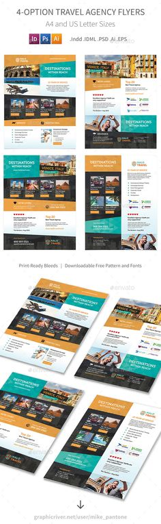 Travel Agency Flyers 2 – 4 Options - Corporate Flyers Template PSD, Vector EPS, InDesign INDD, AI Illustrator