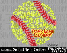Softball svg, softball team svg, t-ball svg, world series svg, all star svg, champion svg, back of shirt svg, team members svg, cut file by ButtonsForBonnie on Etsy Softball Crafts, Softball Shirts, Team T Shirts, Softball Mom, Softball Decorations, Softball Stuff, Baseball Mom, Softball Team Gifts, Softball Gear