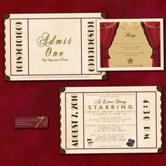 Admit one. A love story starring you!  Wedding invites set the stage for a magical movie themed event.