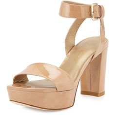Stuart Weitzman Real Deal Patent Platform Sandal ($415) ❤ liked on Polyvore featuring shoes, sandals, adobe, ankle strap shoes, block heel sandals, open toe platform sandals, stuart weitzman sandals and patent leather shoes