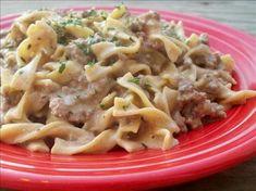 venison stroganoff, serves 4, without noodles, 2% milk and low fat sour cream, cal 345, fat 17.7, protien 36.8