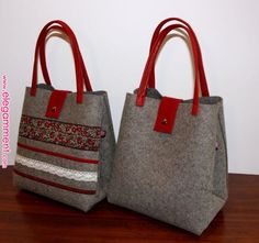 Schöpf – felt bag Leder-Rot by Schöpf – Fancy to carry on DaWanda … - MakeristThis Pin was discovered by DilTo make with Mum's old loden. Sacs Design, Felt Purse, Felt Bags, Diy Bags Purses, Cheap Purses, Diaper Bag Backpack, Diaper Bags, Jute Bags, Patchwork Bags
