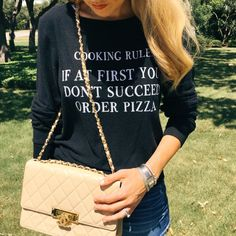 Wildfish sweater and Chanel cruise flap bag via TexasFashionSpot.com