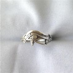 Vintage Sterling Silver Eye Of Horus Egyptian Mens Unisex Ring