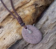 Beach Stone and Moonstone Knotted Dangle Pendant Necklace    Genuine beach stone necklace - shaped by Lake Superior.    Two contrasting textures