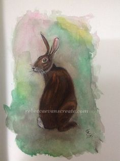 After painting my very large watercolour hare on A2 mount board (Wookie). I decided to challenge myself by painting a small watercolour hare. I must admit that this was harder than I thought it wou...