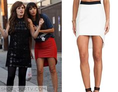 Cece Meyers (Hannah Simone) wears this red leather front hi low skirt in this week's epsiode of New Girl. It is the Mason by Michelle Mason Geometric Skirt. Buy it HERE
