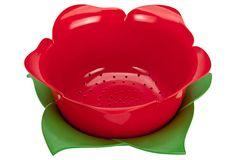 Just so cute for $17.00.  Rose Colander & Dew Bowl Set, Red/Green on OneKingsLane.com