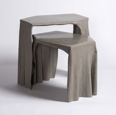 Fabric concrete coffee table donated to @aplusd_la made from fabric dipped to concrete got inspired by Antoni Gaudí's form study with gravity. These self organized from are so organic that it give a glimpse of natural structure like trees. Sizes: 24″ x 18″ x 24″ and 24″ x 18″ x 18″ Weight: 15 lbs