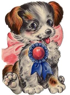 Happy Birthday Dog with Blue Ribbon Gif Animé, Vintage Valentines, Blue Ribbon, Vintage Images, Vintage Cards, Art Forms, Dogs And Puppies, Kitten, Old Things