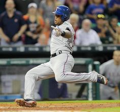 Texas Rangers' Adrian Beltre (29) scores on a sacrifice fly by Robinson Chirinos (61) in the ninth inning against the Houston Astros in a baseball game Monday May 4, 2015 in Houston. Texas Rangers won 2-1. (AP Photo/Bob Levey)