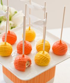 Colorful Orange + Lime Wedding Dessert Display   Pizzazzerie