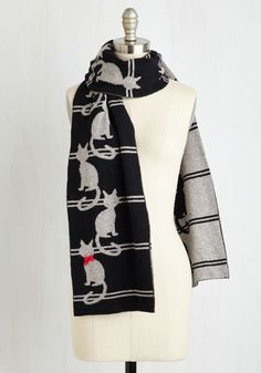 Ailurophile Style Scarf. Everyone from close pals to random passersby will know youre a committed cat person when you waltz by wearing this wooly scarf! #black #modcloth