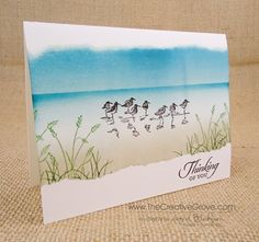 Wetlands One Layer Card - Brayered and Sponged.  Stampin' Up!