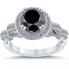 3.20 Carat Certified Natural Black Diamond Engagement Ring 18k White Gold