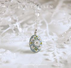 RESERVIERT für G. Haasler. Baubles. Sweet petite pendant in dove-blue colour with 92.5 sterling silver necklace. Gift under 50