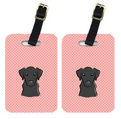 Pair of Checkerboard Pink Black Labrador Luggage Tags BB1235BT