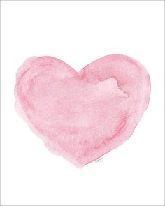 Watercolor Painting Heart Art Print Pink 8x10 Fine Art Print Love  Inspirational Shabby Chic Style  French Country