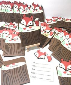This unique and beautiful invitation is sure to catch your guests attention for your little fox upcoming arrival or birthday party! Fox Invitations
