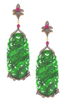 Angelique de Paris  Burmese Jade Diamond & Ruby Drop Earrings