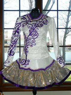 Aunt Stacy designs.  White Irish Dance solo costume with purple